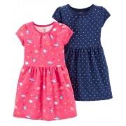 Conjunto Carters 2 Vestidos Pink Planetas e Azul Bolinhas Brancas