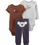 Conjunto Carters 3 Pçs Calça Azul Listrada Body Baby Bear