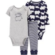 Conjunto Carters 3 Pçs Calça Azul Listrada Body Mommy Loves Me
