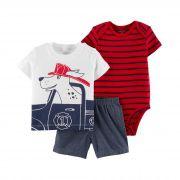 Conjunto Carters 3 peças Shorts, Body e Camiseta Cachorrinho