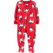 Macacão em Fleece Infantil Carters Vermelho Cachorrinho