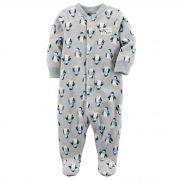 Macacão Infantil Carters Pinguim com Pé - Fleece