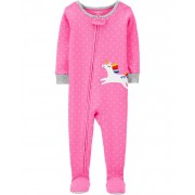 Pijama Infantil Carters Rosa Unicórnio com Pé em Malha