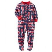 Pijama para crianças caminhão bombeiro com pé - Fleece