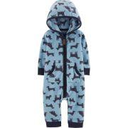 Pijama para crianças em fleece Azul cachorro