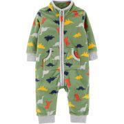 Pijama para crianças em fleece verde dinossauros