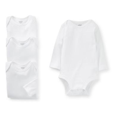 Body Infantil Conjunto 4pçs Manga Longa Branco
