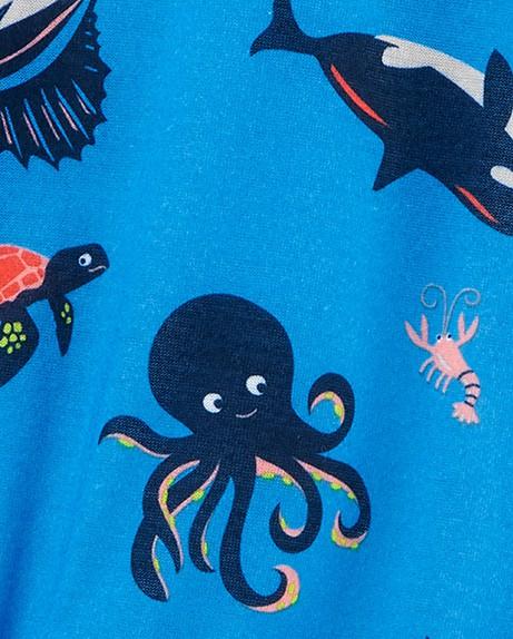 Carters Macacão com Pé em Malha Azul Animais Marinhos