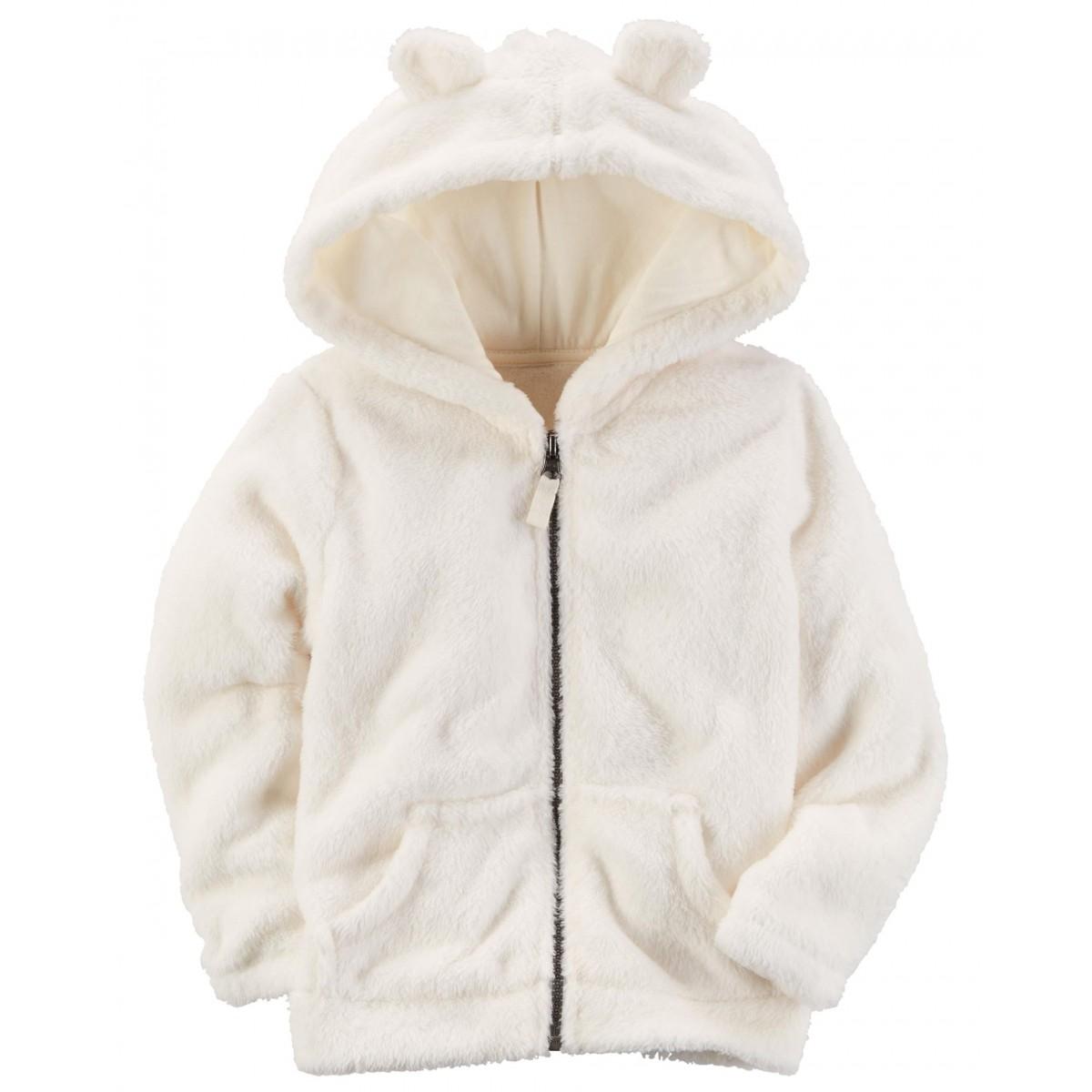 Casaco em Fleece Branco com capuz