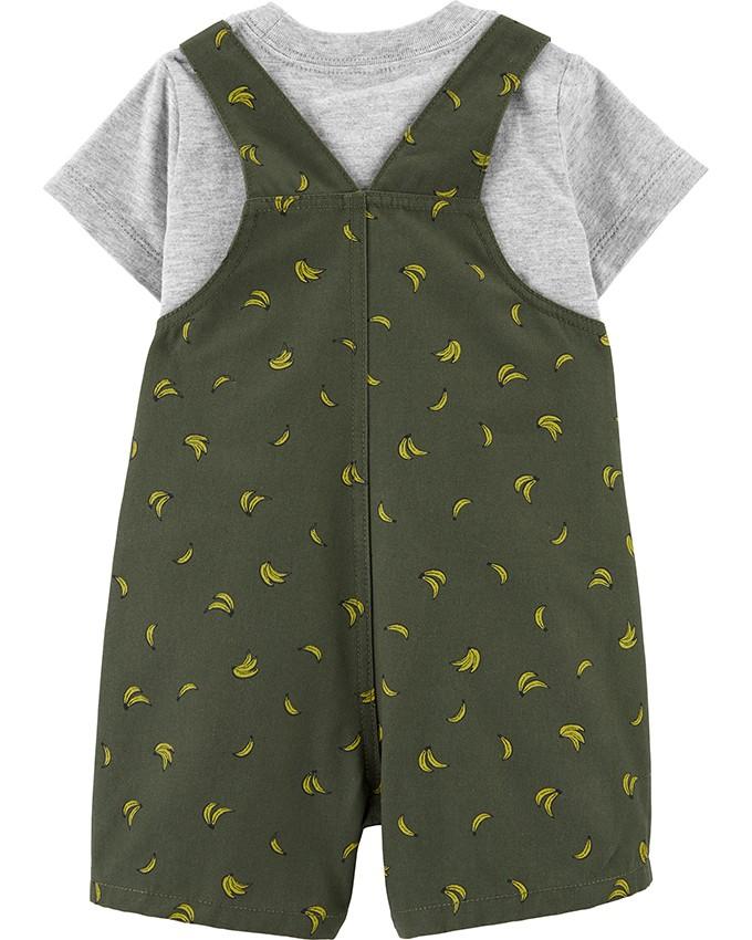 Conjunto 2 Peças Jardineira Verde e Camiseta Cinza