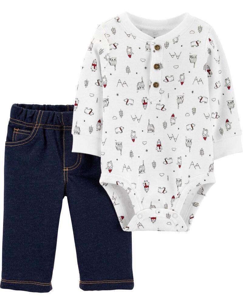 Conjunto Carters 2 peças Calça tipo Jeans e Body Branco manga longa