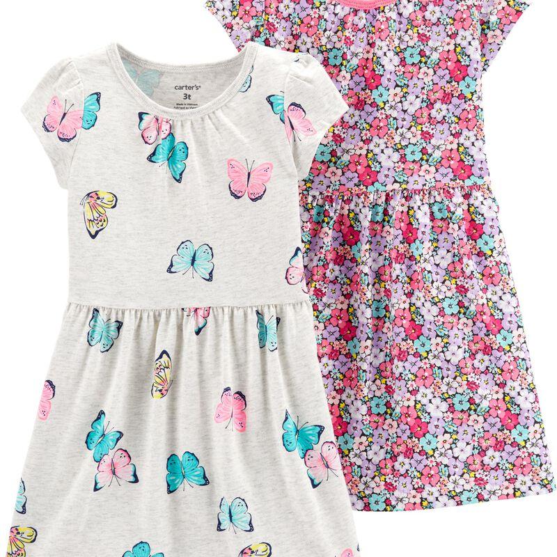 Conjunto Carters 2 Vestidos Cinza Borboleta e Rosa Florido