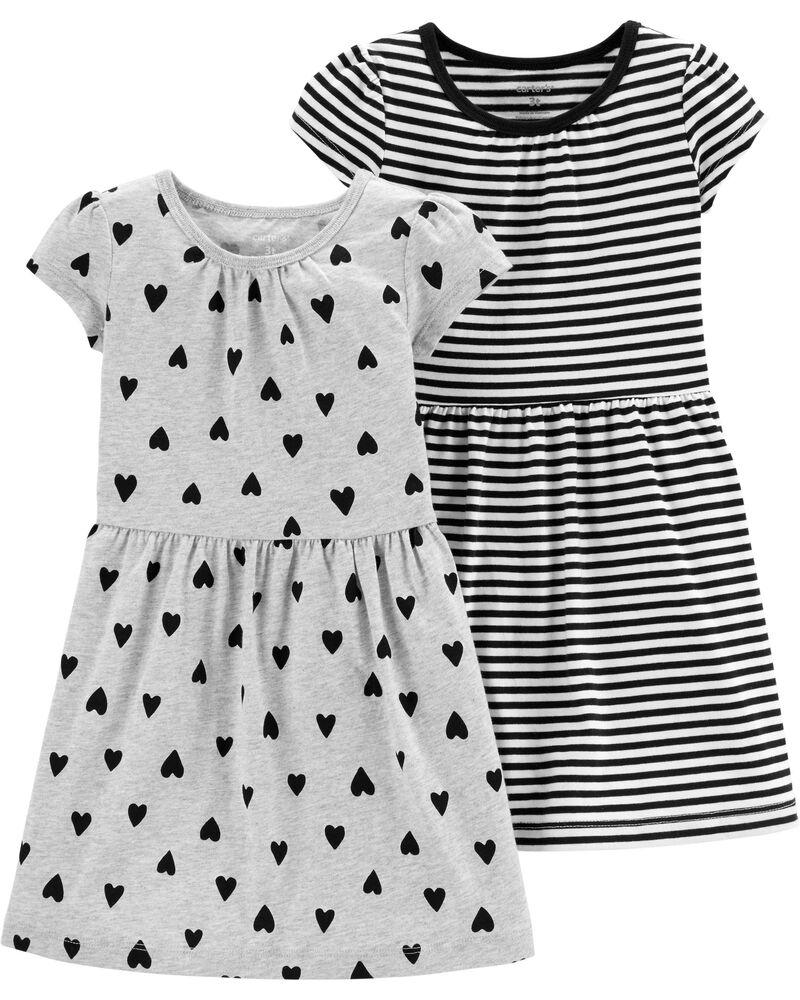 Conjunto Carters 2 Vestidos Cinza Corações e Listrado Preto e Branco