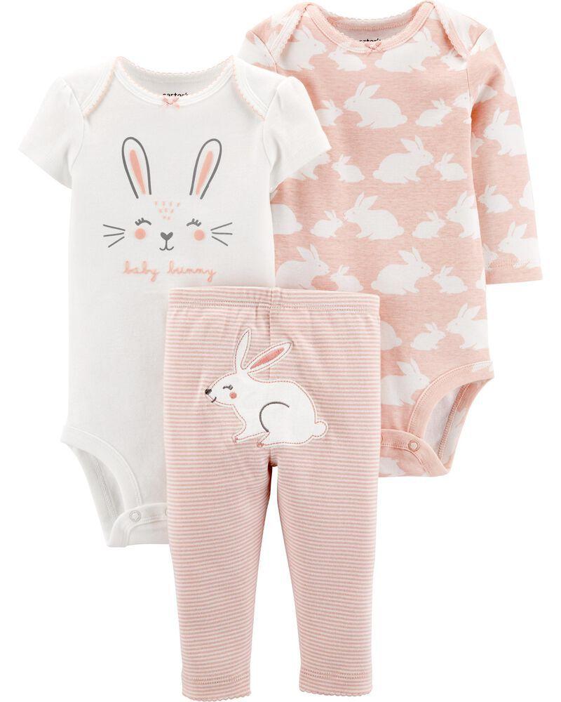 Conjunto Carters 3 Pçs Calça Rosa Listrada Body Baby Bunny