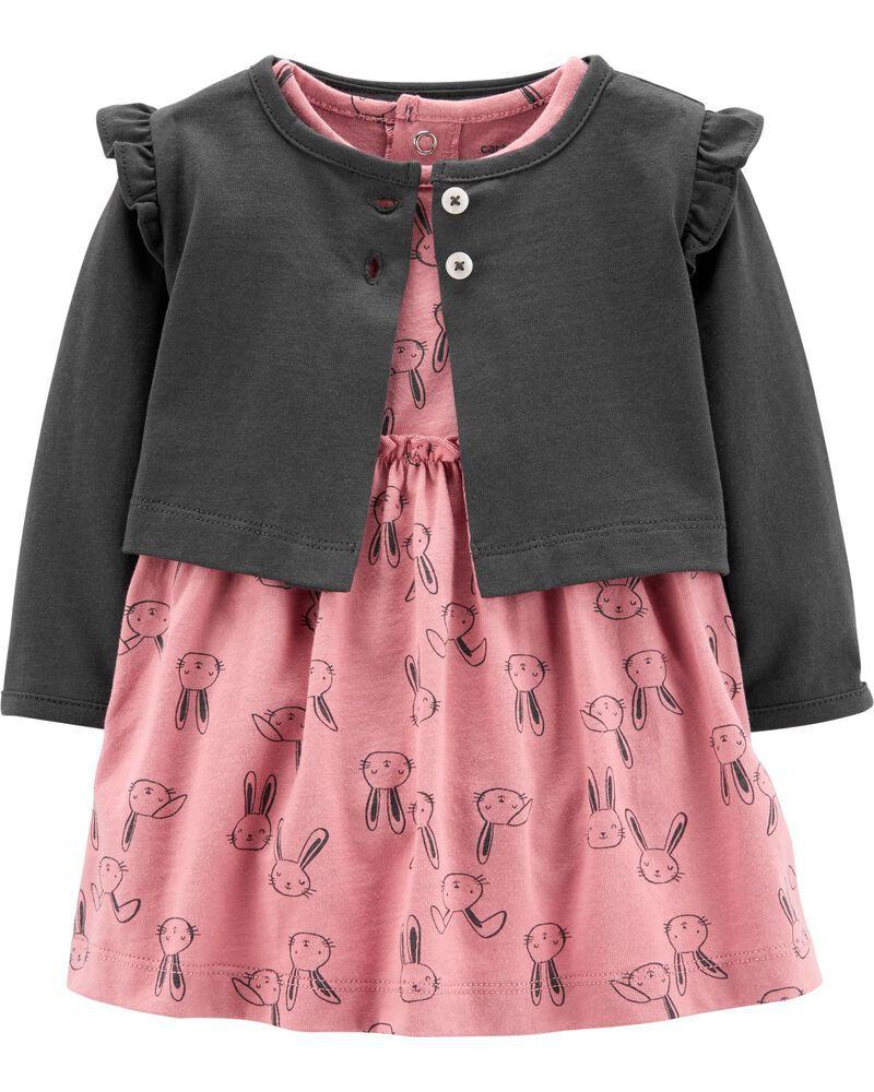 Conjunto Carters 2 peças Vestido Rosa coelinhos com Cardigan