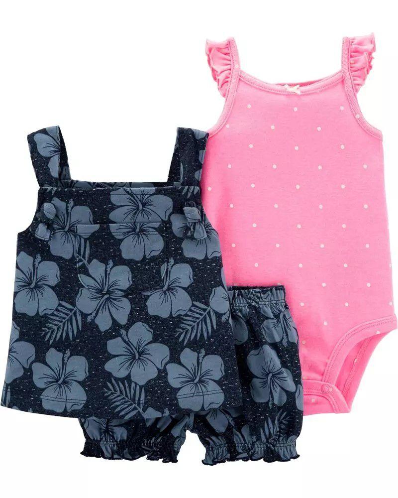 Conjunto Carters 3 Pçs Shorts e Bata Azul Florida e Body Manga Regata