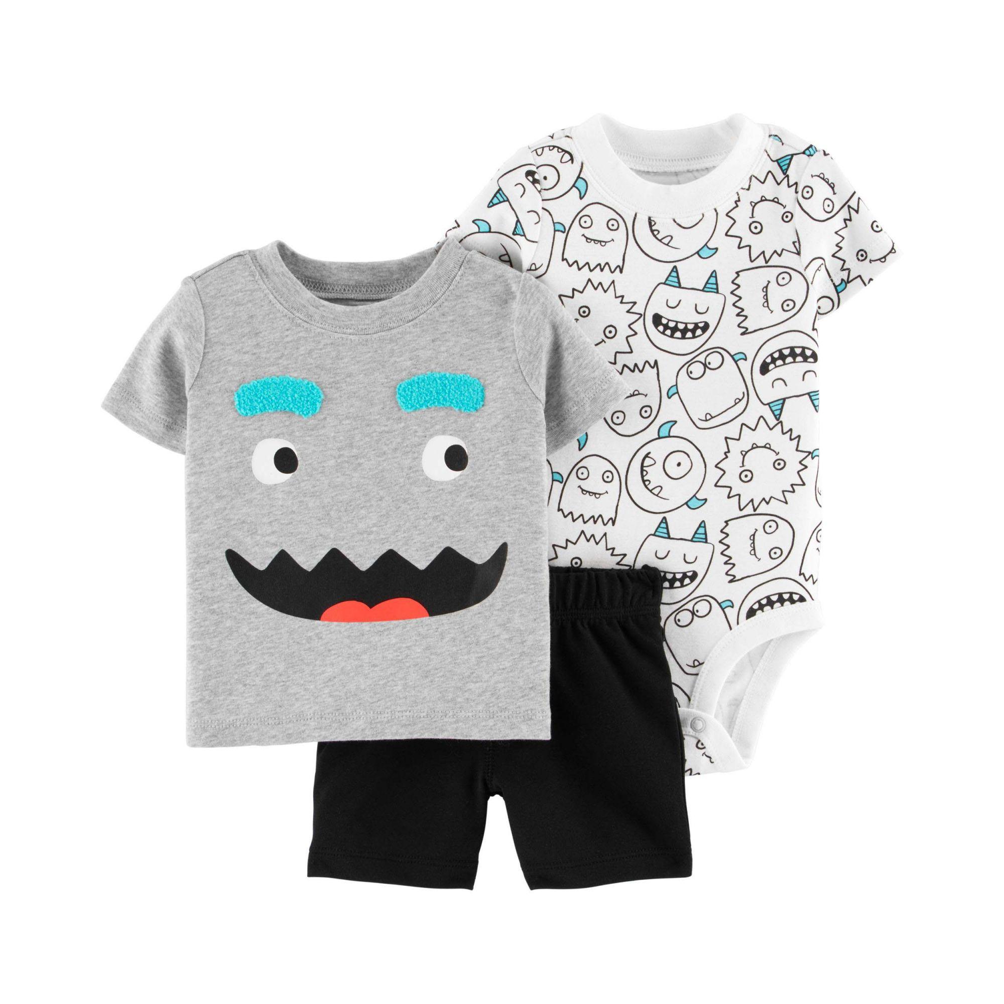 Conjunto Carters 3 peças Shorts, Body e Camiseta Monstrinhos