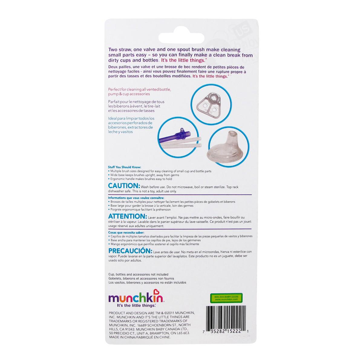 Kit de 4 escovas para limpar canudos e bicos de mamadeiras