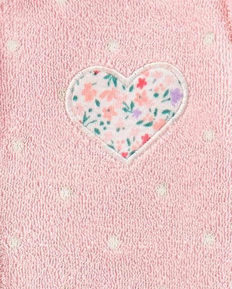 Macacão Carters Atoalhado Rosa Coração com Pé