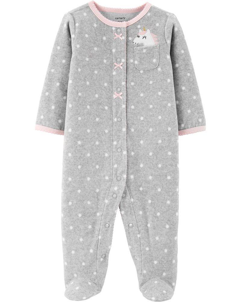 Macacão em Fleece Infantil Carters Cinza com Bolinhas Brancas Unicórnio