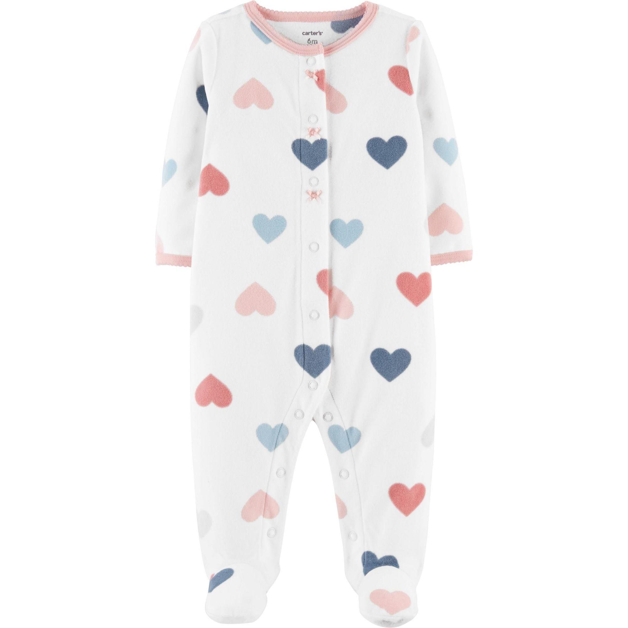 Macacão em Fleece Infantil Carters Corações com Pé