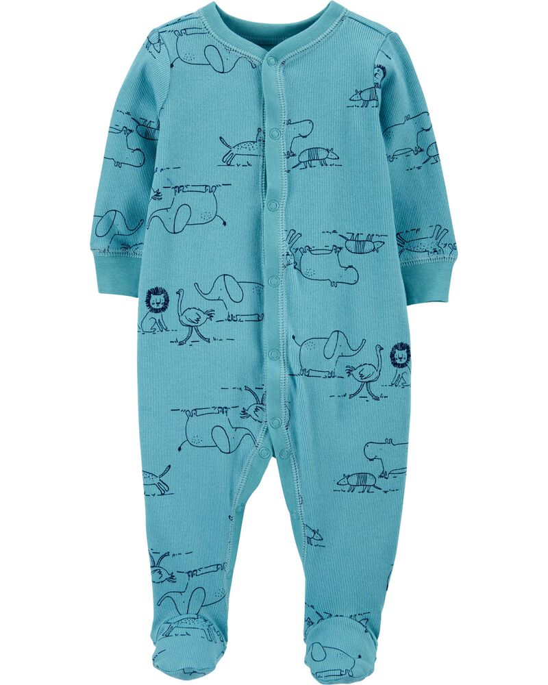 Macacão Infantil Atoalhado Azul Bichinhos com pé