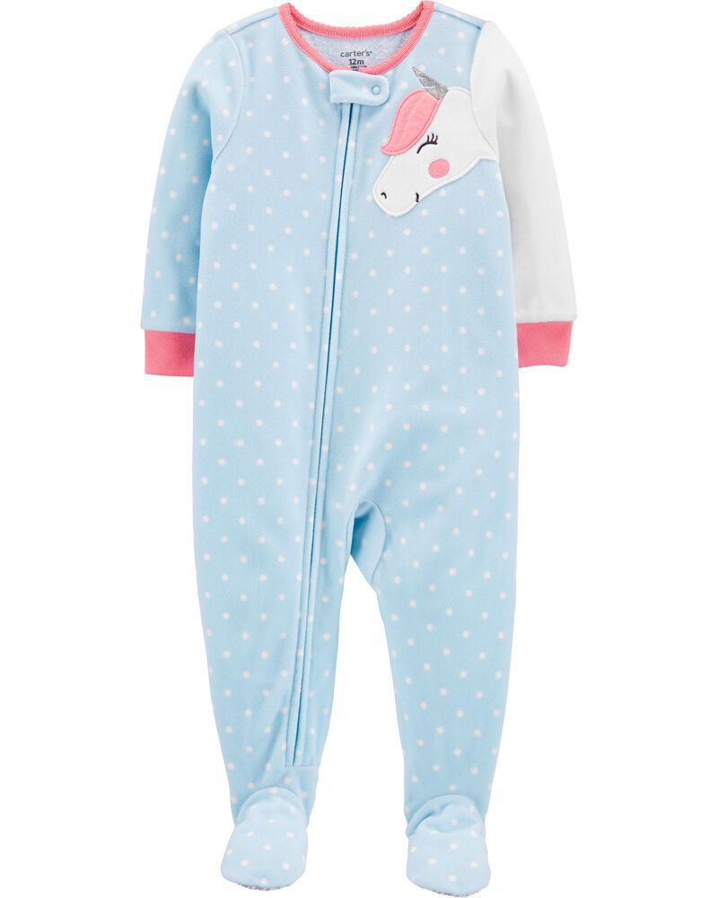 Macacão Infantil Fleece Azul com bolinhas brancas unicórnio com pé