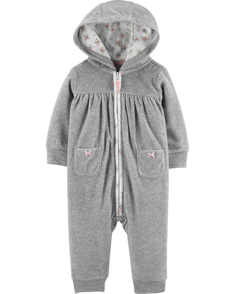 Macacão Infantil Fleece Cinza com capuz sem pé