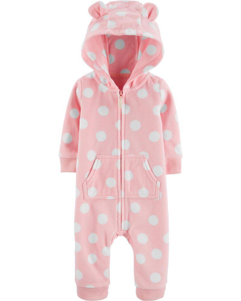 Macacão Infantil Fleece Rosa Bolinhas Brancas com capuz sem pé