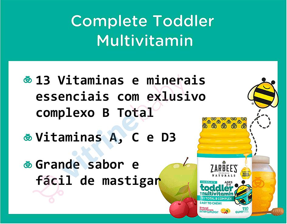 Multivitamínico Infantil com Complexo B Zarbees Naturals Toddler 110 Gomas