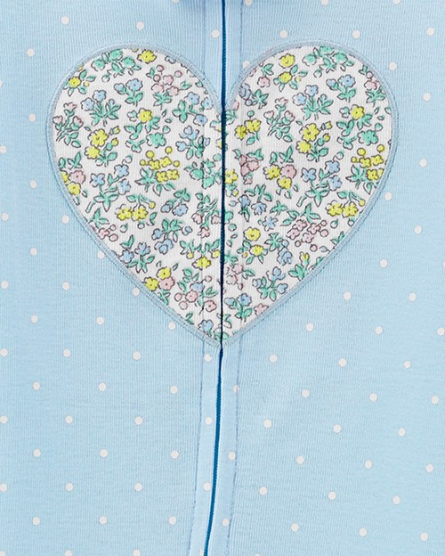 Pijama Carters Azul Coração Florido com Pé em Malha