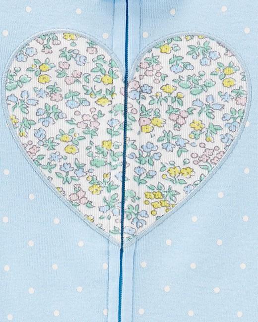 Pijama Carters Azul Coração Florido sem Pé em Malha