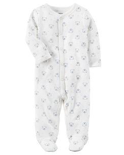 Pijama Carters Ursinho com Pé - Malha