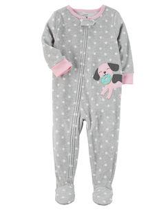 Pijama infantil cachorrinha com pé - Fleece