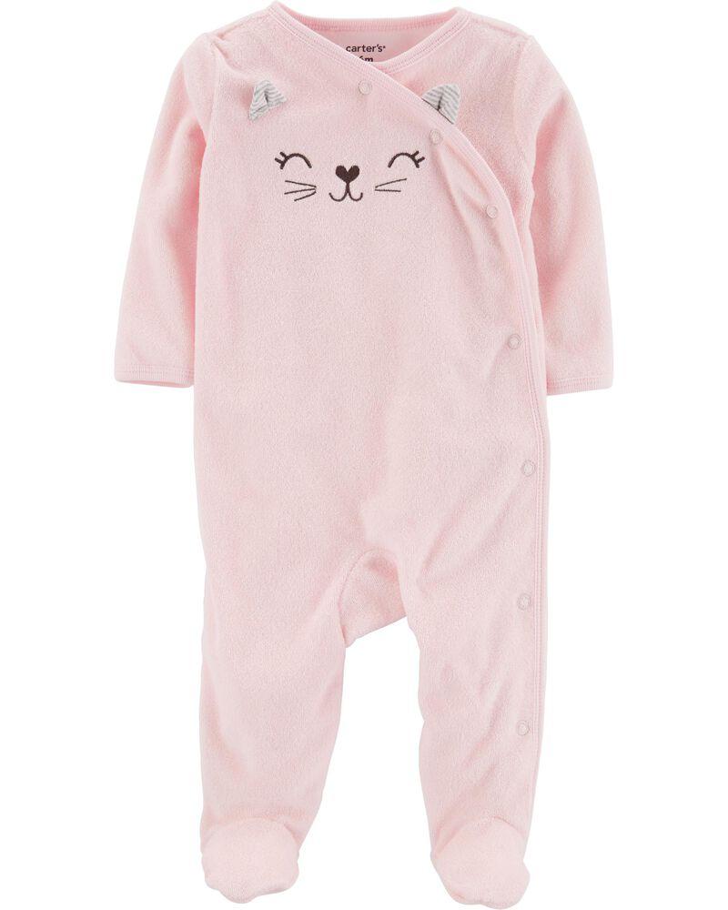 Pijama Infantil Carters Atoalhado Rosa Gatinha com Pé