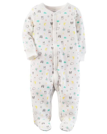 Pijama Infantil Carters Bichinhos com Pé - Malha