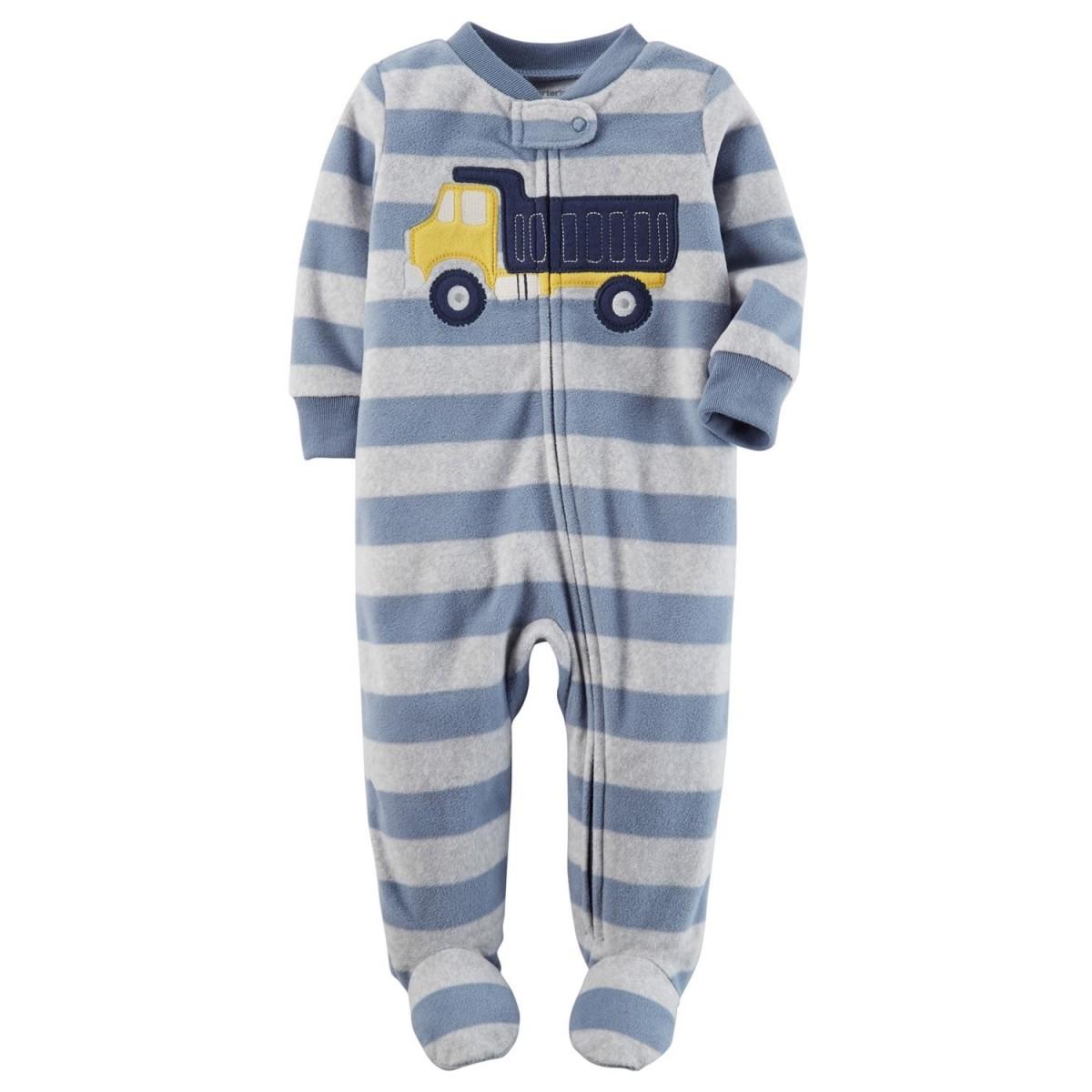 Pijama Infantil Carters Caminhão com Pé - Fleece
