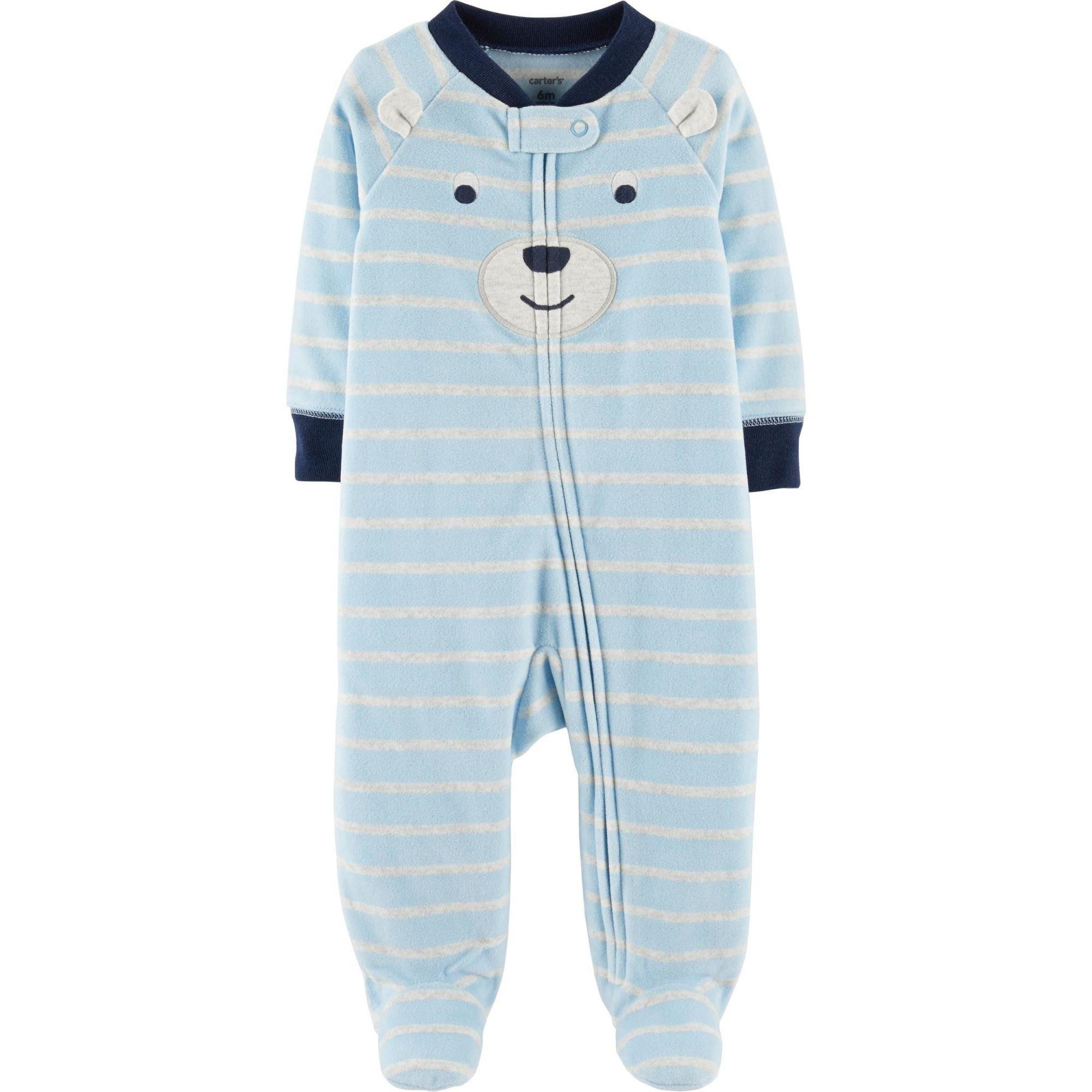 Pijama Infantil Carters em Fleece Azul e Listras Cinza com Pé