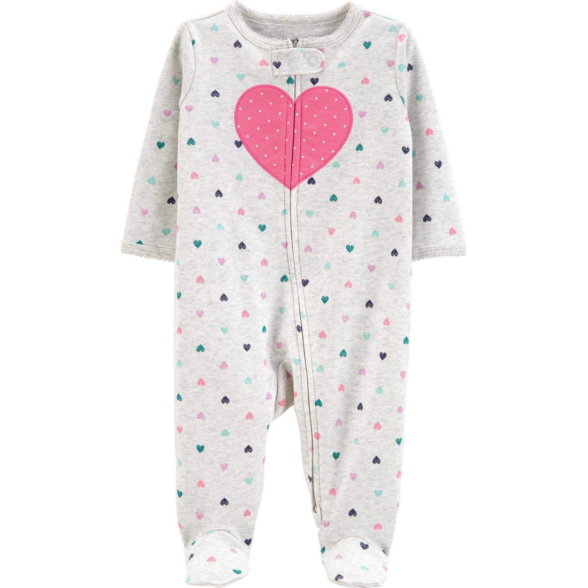 Pijama Infantil Carters em malha com Pé cinza corações