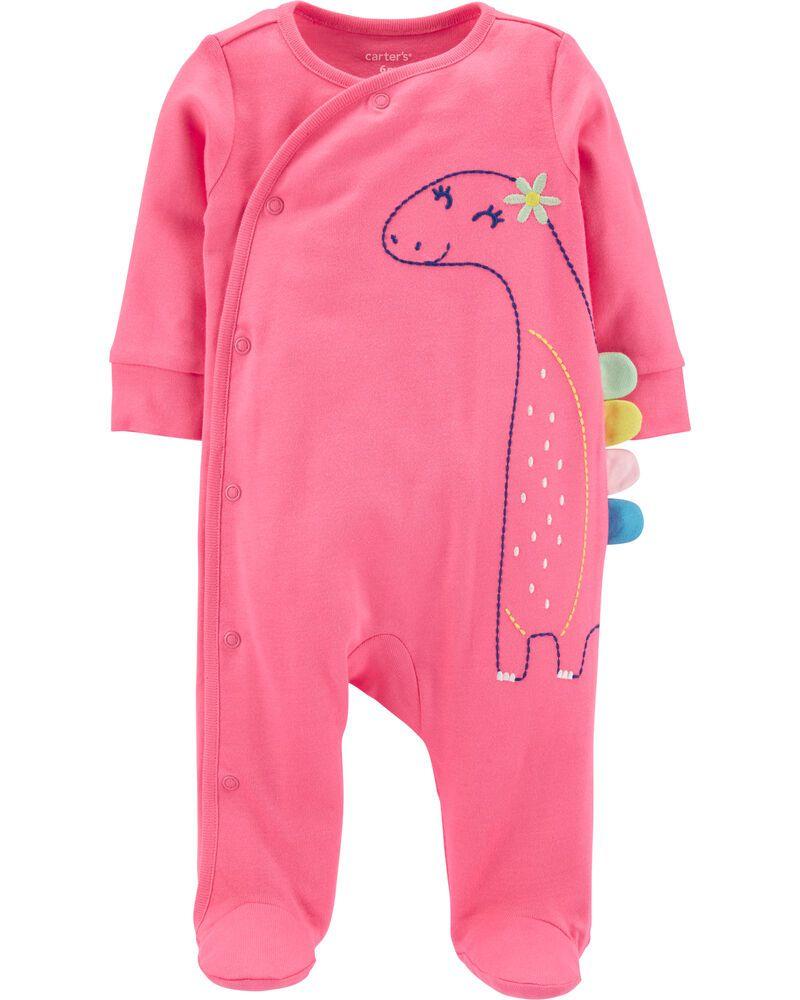 Pijama Infantil Carters em Malha Rosa Dinossauro com Pé