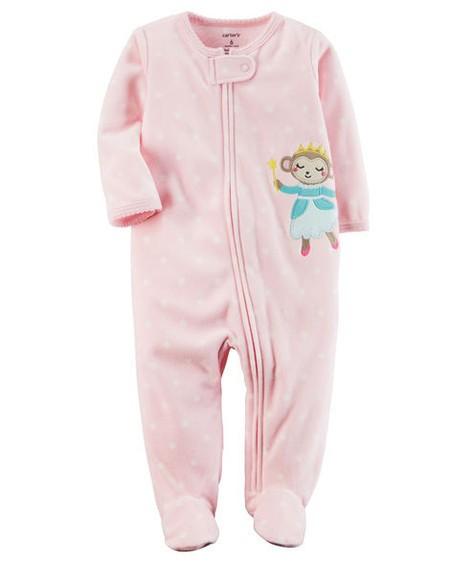 Pijama Infantil Carters Macaquinha com Pé - Fleece