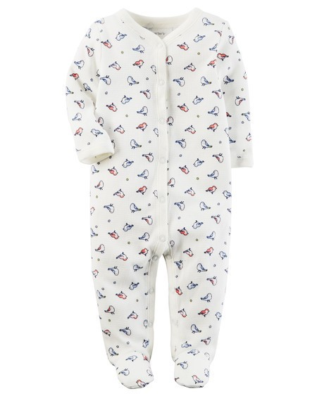 Pijama Infantil Carters Passarinhos com Pé - Malha