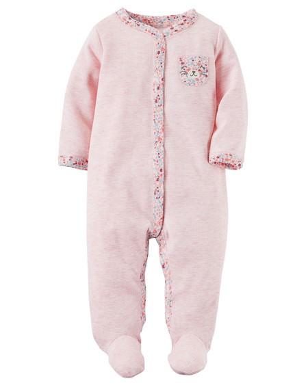 Pijama Infantil Carters Ursinha com Pé - Malha