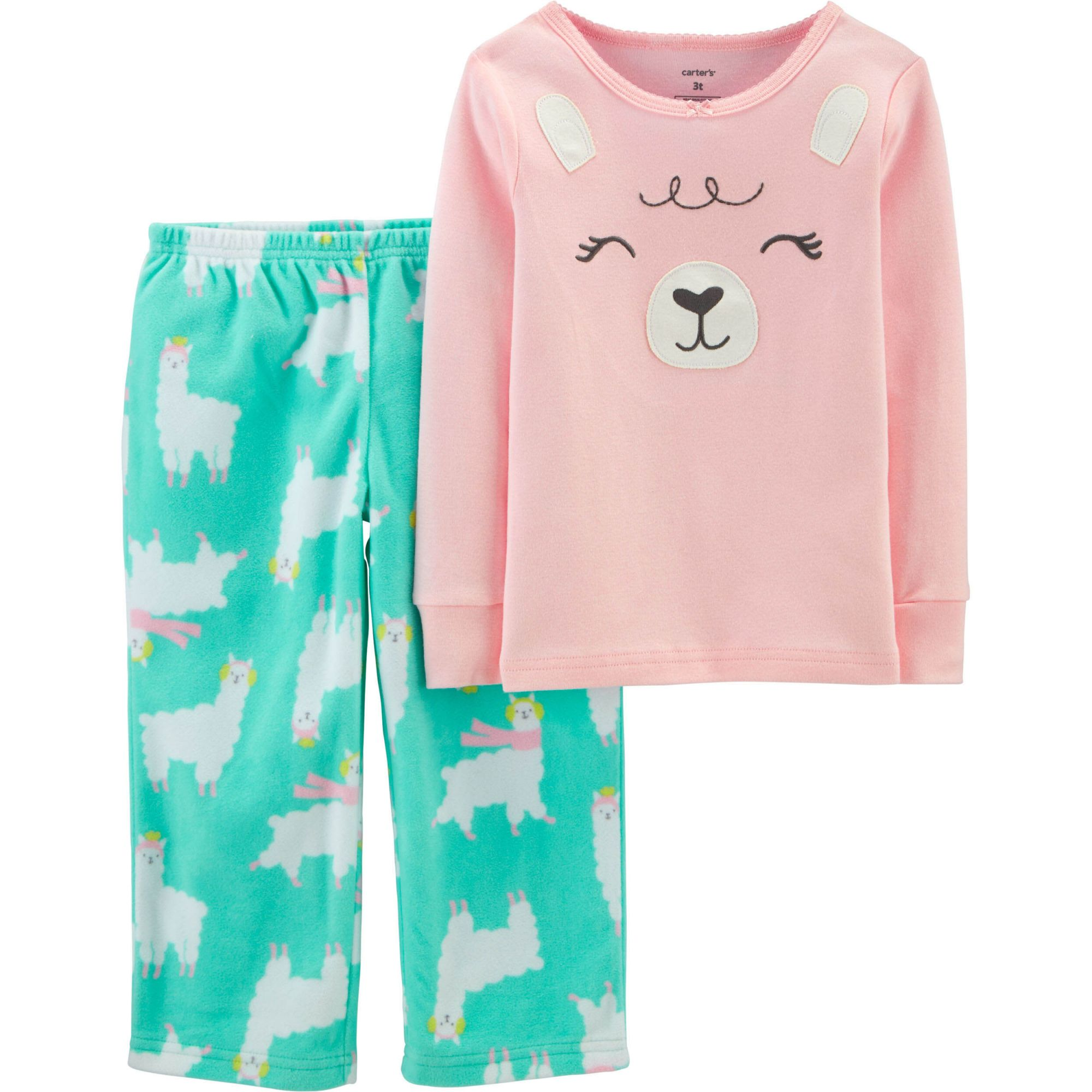 Pijama Infantil Fleece e malha 2 peças Lhama
