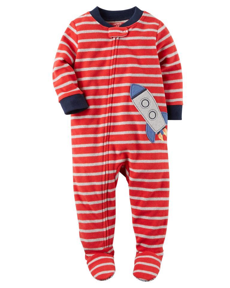 Pijama para crianças foguete com pé - Fleece