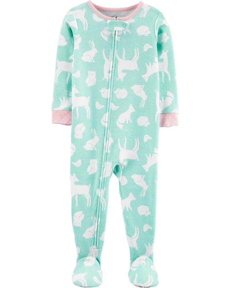 Pijama para crianças verde bichinhos com pé em Malha