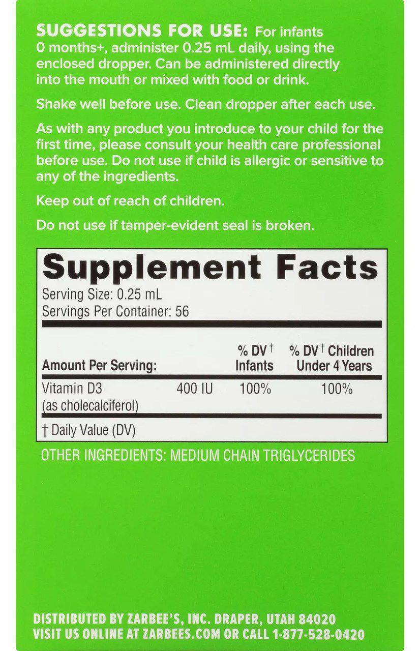 Vitamina D Zarbees Naturals Baby's 14ml