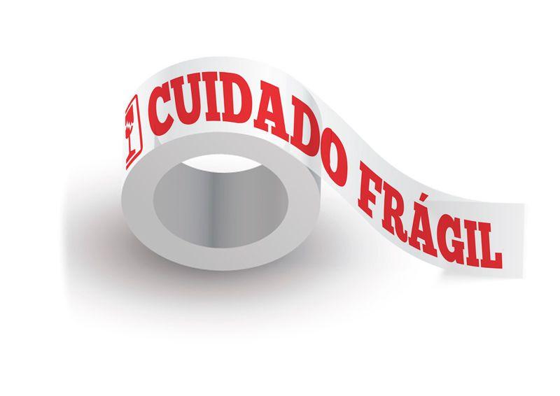 Caixa com 100 Fitas Adesivas Cuidado Frágil  Fundo Branco Letras Vermelhas 48 mm X 50 metros