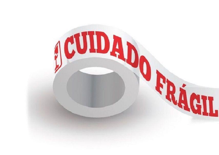 Caixa com 80 Fitas Adesivas Cuidado Frágil  Fundo Branco Letras Vermelhas 48 mm X 100 metros