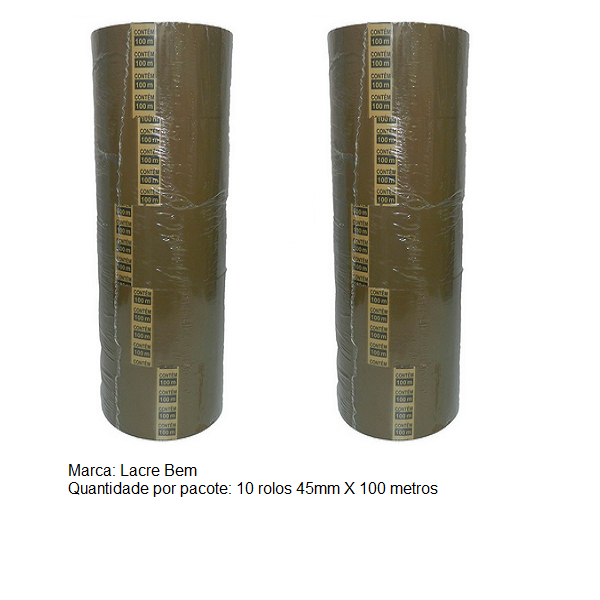 Fita Adesiva Marrom Lacre Bem 45Mm X 100 Metros - 10 Unidades